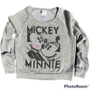 DISNEY MICKEY & MINNIE MOUSE GRAPHIC CROP SWEATER